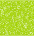 seamless happy easter pattern in doodle style vector image