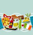 italy seamless pattern italian sticker symbols vector image