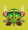 rasta logo cannabis leaf and joint or spliff vector image