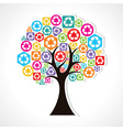 tree forming by colorful recycle icons vector image