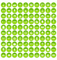 100 logistics icons set green vector image vector image