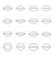 set of contours of lips vector image vector image