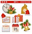 Christmas Icons Set 1 vector image