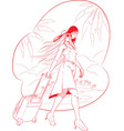 Sketch of Woman Tourist Travelling with Beach vector image vector image
