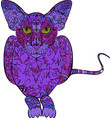 coloring book hand drawn adults cat in vector image