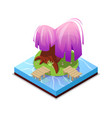 green island in lake isometric 3d icon vector image