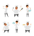male and female professional chef vector image