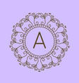 monogram a logo and text badge emblem line art vector image