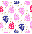 monstera tropic palm pink and blue leaves seamless vector image