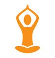 Orange emblem Yoga pose isolated on white vector image