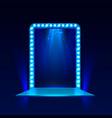 show light podium blue background vector image