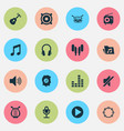 multimedia icons set collection of barrel vector image