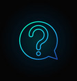question mark in speech bubble blue outline vector image vector image