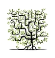 Green tree square shape for your design vector image vector image