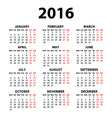 modern and simple calendar 2016 with moon phases vector image
