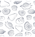 Seashells white seamless background vector image
