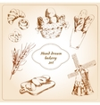 Bakery hand drawn icons set vector image