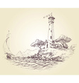 Lighthouse drawing seascape and sailboat at sea vector image