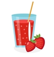 Strawberry juice in a glass Fresh isolated on vector image