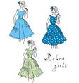 vintage girls vector image