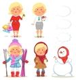 Winter holidays set of cartoon women vector image