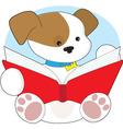 cute puppy reading vector image vector image