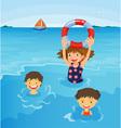 Beach kids vector image vector image
