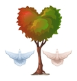 Tree with foliage in the shape of heart and doves vector image