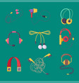 headphones set music technology accessory vector image