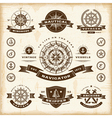 Vintage nautical labels set vector image
