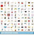 100 intention icons set cartoon style vector image