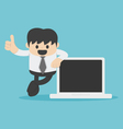 Business man hand with thumb up and Computer vector image