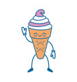 kawaii ice cream icon vector image