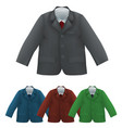 kids jacket shirt and tie blank template vector image