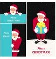 Set of three smiling Santa Claus greeting card vector image