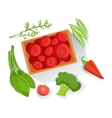 Tomatos Broccoli Spinach Fresh Organic vector image