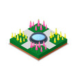 water pool and flowers in park isometric 3d icon vector image