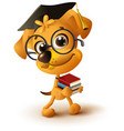 yellow dog teacher holds stack of books vector image