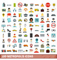 100 metropolis icons set flat style vector image
