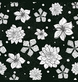 tropical black and white flowers seamless vector image