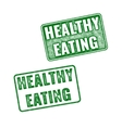 Green grunge rubber stamps Healthy Eating vector image