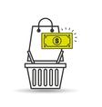 basket shopping bag gift money graphic vector image
