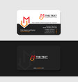 black business card with letter m and house icon vector image