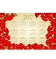 Calendar 2017 with red hibiscus flowers vintage vector image