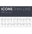 Mammals Thin Line Icons vector image