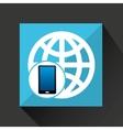 smartphone global social network media icon vector image