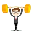 man lifts up heavy barbell with dollar sign vector image