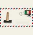 Envelope with a postage stamp with pisa tower vector image