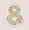 march 8 multicolor objects on a beige background vector image