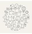 Summer Holiday Line Travel Icons Set Circular vector image vector image